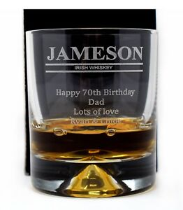 Personalised *FINEST WHISKY* Dimple Glass Tumbler Dad//Grandad//70th//Birthday//Gift