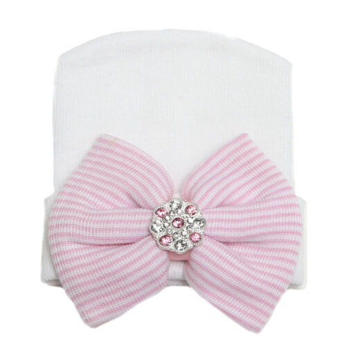 Newborn Baby Infant Beanie Hat Turban Bow-knot Rhinestone Soft Hats Hospital Cap