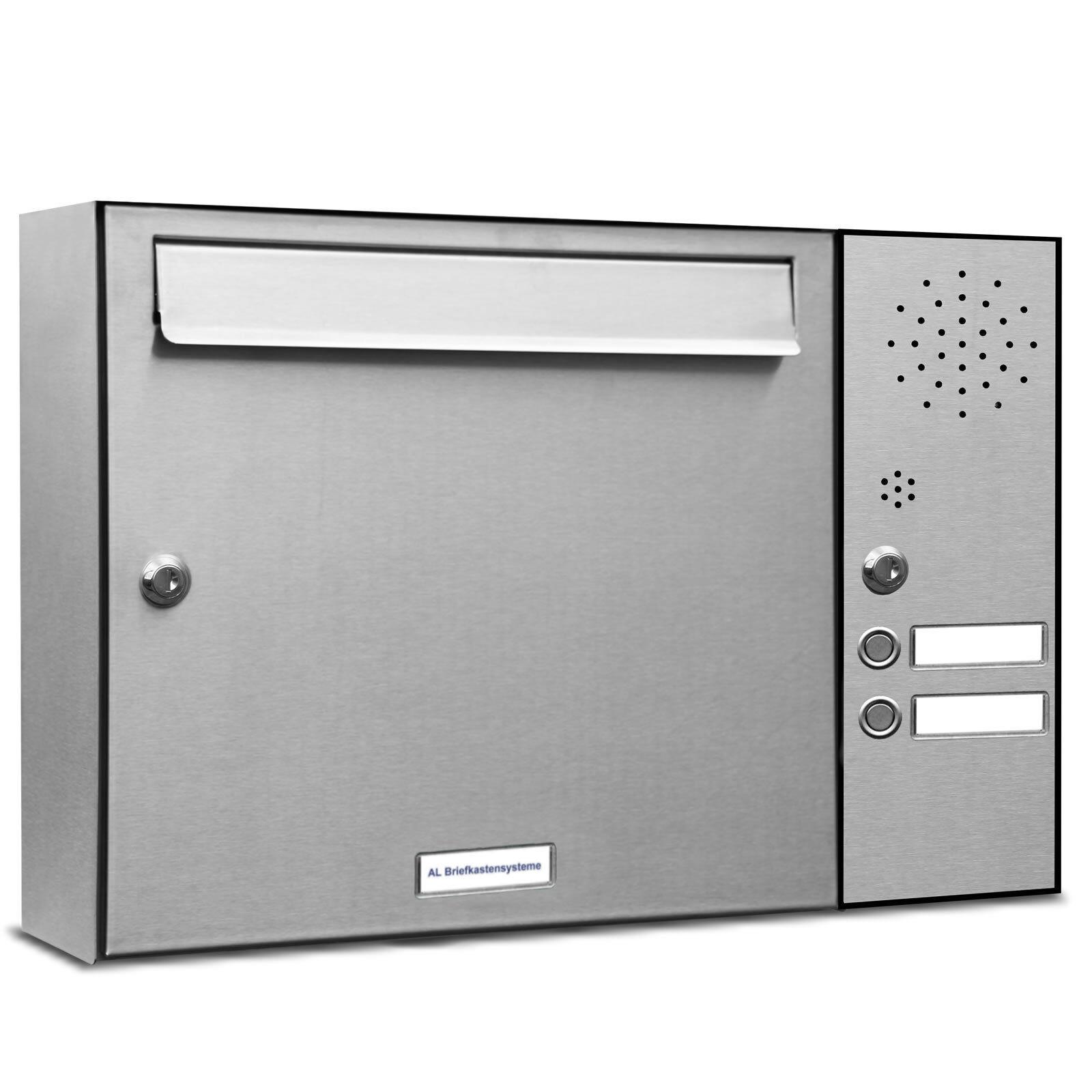 1 er Premium Edelstahl Design Wand Briefkasten Anlage 2 Klingeln Postkasten