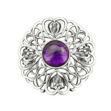 SCOTTISH THISTLE BROOCH LARGE WITH AMETHYST COLOUR STONE 0802