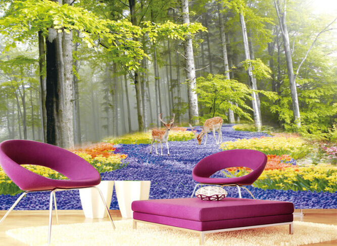 3D Forest lila Path Paper Wall Print Decal Wall Wall Murals AJ WALLPAPER GB