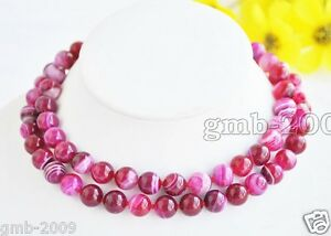 8mm Natural Blue Stripe Vein Agate Gemstone Round Beads Necklace 18/'/' AAA