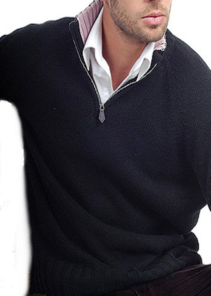 Balldiri 100% Cashmere Troyer 8-fädig mit Kontrastkragen schwarz- zartRosa XS