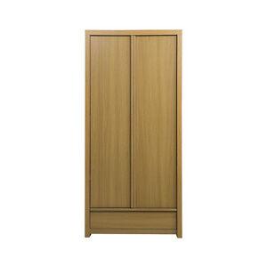 New-Simple-2-Double-Door-Classic-MDF-Oak-Color-Wardrobe-Drawer-Bedroom-Furniture