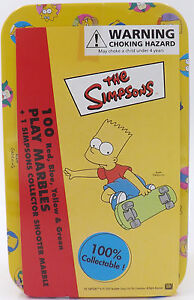 100 Marbles in Collector Tin + 1 Simpsons Shooter Red Blue Yellow Green NEW
