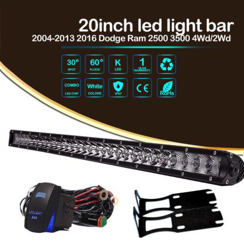 20inch Super Slim Single Row LED Light Bar Combo Beam 6000K For Dodge Ram