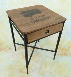Beistelltisch Nachttisch Holz Couchtisch Schublade Oldtimer Tisch