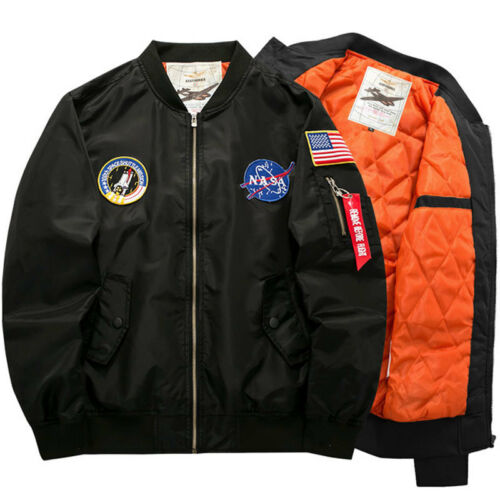 Warm Men/'s NASA Biker Jackets MA1 Flight Bomber Varsity Casual Coat Outwear Hot