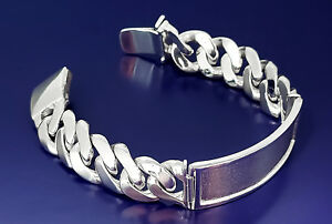 16 mm Heavy Solid Sterling Silver DOUBLE 2 Row Nugget Style Link ID Bracelet Handmade in USA 8 Inches 38 Grams