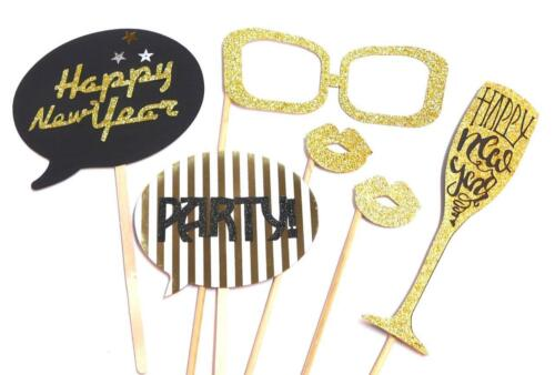 Set of 6 Happy New Year Party Props Photo Booth Props