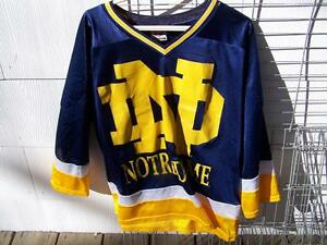 the latest 03fab 6fb49 Details about Vintage Notre Dame Hockey Jersey Shirt Red Oak Blue Size LARGE