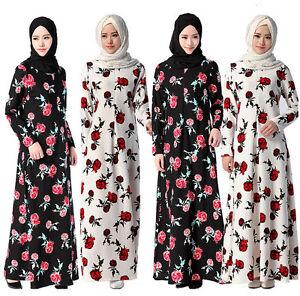 NEw Muslim Flower Print Maxi Dress Islamic Long Sleeve Kaftan Abaya Arab Clothes