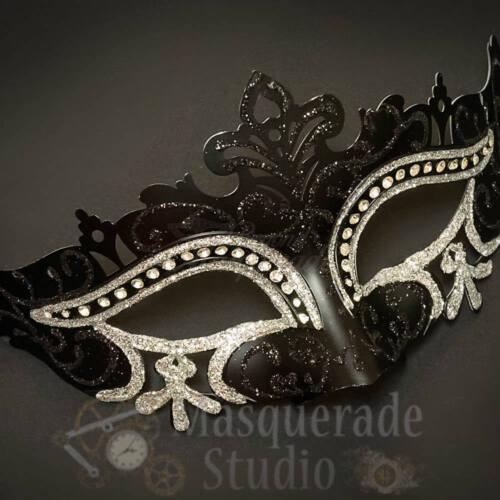Womens Mardi Gras Festival Masquerade Mask with Rhinestones Silver Glitter