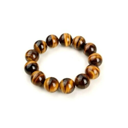Armband Herren Mala Zen Elastisch Tigerauge Buddhistische Große Perlen 12mm