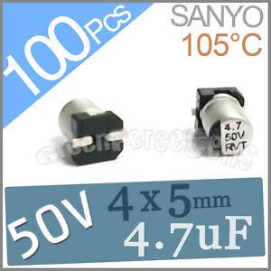 100  50V 4.7UF 4x5mm Standard SMD Super Low ESR Aluminum Solid Capacitor