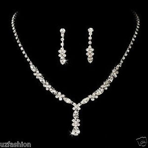 ae2aa5d0a Image is loading Silver-Diamante-jewellery-necklace-set-Weddings-Bride-Prom-