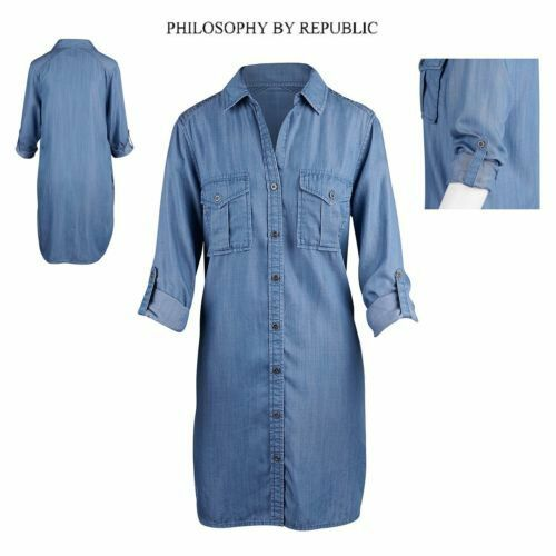 6aa235bb Philosophy Tencel Blue Chambray Denim Shirt Dress Tunic Top Button XXL 2x  for sale online | eBay