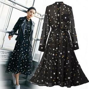 9e05b5e6ecee Image is loading Womens-Black-Chiffon-Stars-Printed-Long-Sleeves-Retro-