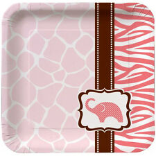 WILD SAFARI GIRL SMALL PAPER PLATES (8)~ Baby Shower Party Supplies Cake Dessert