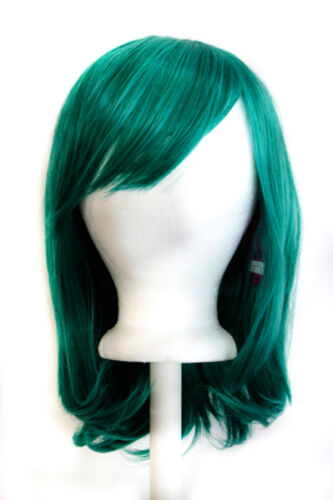 """15/"""" Shoulder Length Straight Cut with Long Bangs Holly Green Cosplay Wig NEW"""