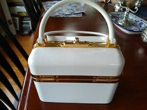 Creamy White and Goldtone Bakelite Satchel from Saks Fifth Avenue