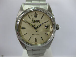 Gents-Vintage-Rolex-Oyster-Date-Precision-Stainless-Steel-Expanding-6494-954