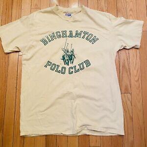 Vtg-Binghamton-Polo-Club-Hanes-Yellow-Cotton-Single-Stitch-USA-Tshirt-XL