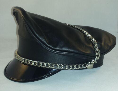 0057 Genuine Leather Black White Strip Army Muir Biker Peaked Gay Cap With Chain