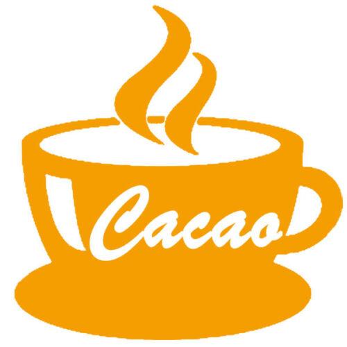 18 coloris 5 tailles CUIS021 Sticker Cuisine Tasse de Cacao fumant