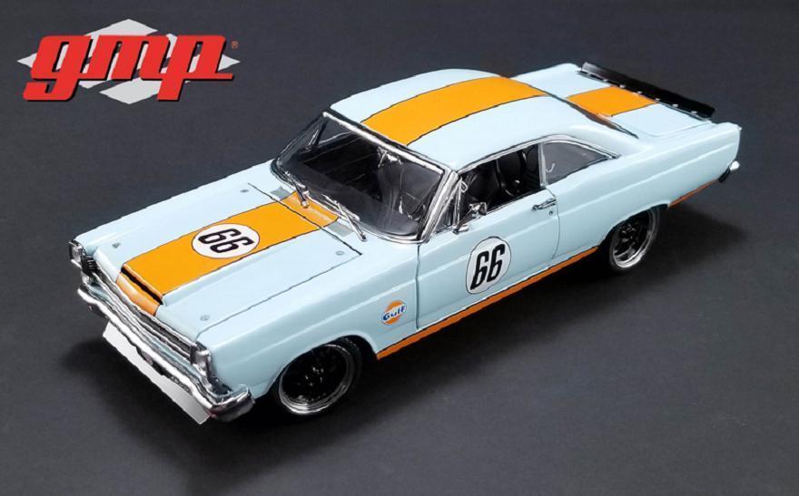 GMP 1 18 1967 Ford Fairlane Gulf Oil Racing Diecast Modelo azul naranja 18858