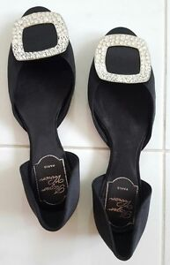 Authentic-Roger-VIVIER-Chips-Strass-Silk-Ballerina-Flats-Size-35-Black