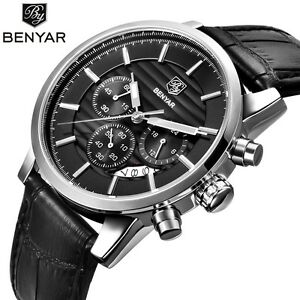 BENYAR-Men-Date-Luxury-Leather-Band-3ATM-Military-Sport-Quartz-Wrist-Watch-Gift