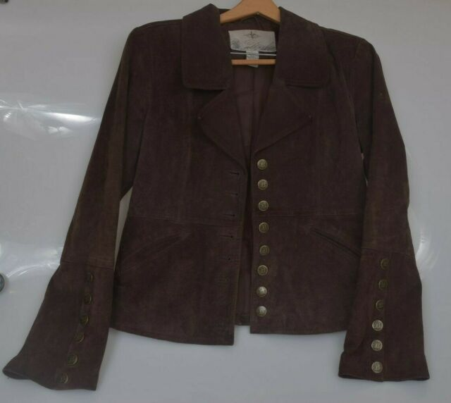 BB Dakota Womens Brown 100% Leather Suede Jacket Lined Metal Buttons Large