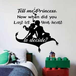 Art Walt Disney Vinyl Sticker Cartoon Aladdin Wall Decal Aladdin /& Jasmine On Magic Carpet Decor for Home Child Room Design 2al7