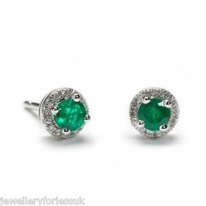 18Carat-White-Gold-Natural-Emerald-amp-Diamond-Halo-Pair-of-Studs-Earrings-0-54cts