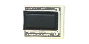 DISTRESSED-Black-English-Bridle-Leather-Magnetic-Money-Clip-MADE-IN-USA