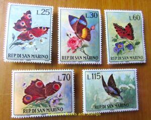EBS-San-Marino-1963-Butterflies-Farfalle-Schmetterlinge-644-648-MNH