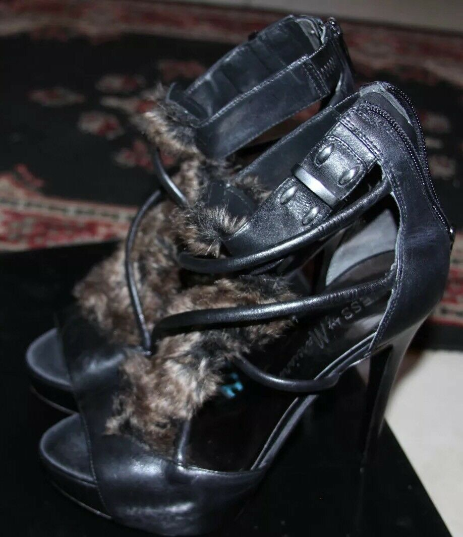 GUESS LEATHER BY MARCIANO BLACK MULTI LEATHER GUESS HEELS SIZE 8M 63d035