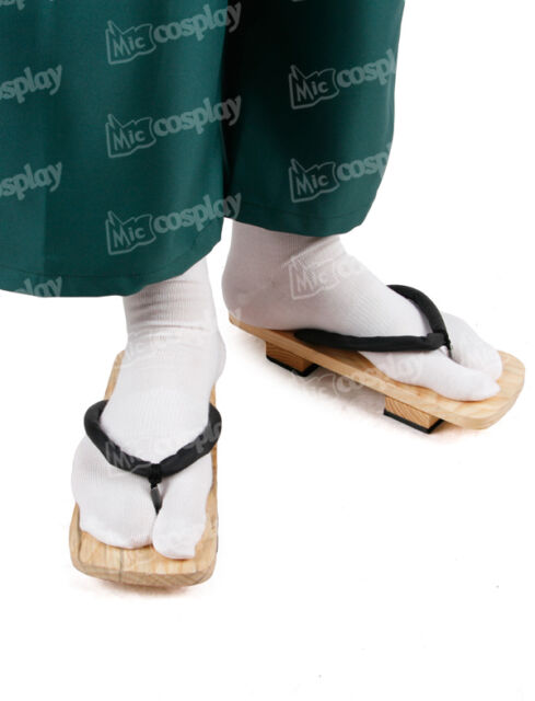 Japanese 2 Teeth Geta Shoes Sandals Clogs - Bleach Anime Cosplay Halloween Boots