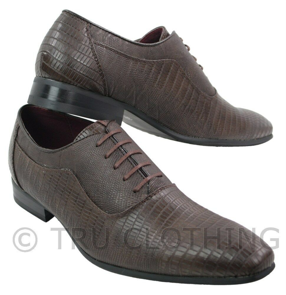 Mens Chocolate Brown Crocodile Leather Italian Design shoes Laced