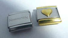 GOLD HEART & TRIM 9mm Italian Charm + 1x Genuine Nomination Classic Link LOVE