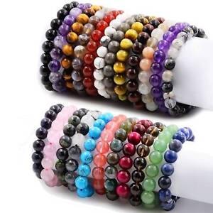 Natural-Handmade-Round-Beads-Gemstone-Bracelet-Men-Women-Stretch-Bangle-8mm-10mm