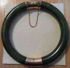Vintage Solid 14k Gold Green Jade Jadeite Hinged Bangle Bracelet 14KT Not Scrap