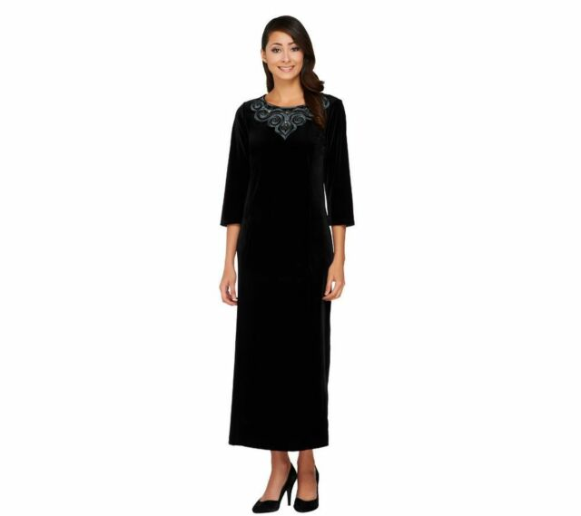 Bob Mackie Embroidered Sequin JEWEL 3/4 SLV Maxi Home Gown Black M ...