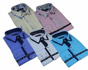 Mens Cotton Italian Designer Button Collar Shirt Paisley Smart Casual Slim Fit
