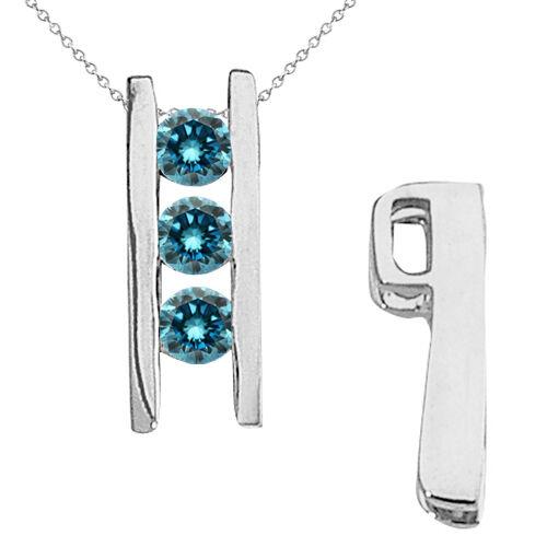 1 Ct 3 Stone Fancy Journey Pendant Clean bluee Diamonds 14K White gold 18  Chain