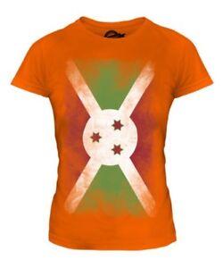 BURUNDI FADED FLAG LADIES T-SHIRT TEE TOP BURUNDIAN SHIRT FOOTBALL JERSEY GIFT