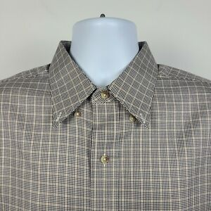 Jos A Bank Traveler Tailored Fit Brown Check Mens Dress Button Shirt Size Large