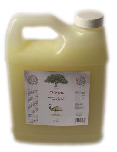 100% PURE EMU OIL ORGANIC Australian 3 times REFINED 1 oz -32 OZ NATURAL DYI