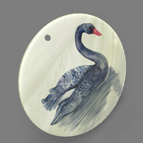 White Mother of Pearl Shell Black Swan Color Printed Pendant J1706 0325